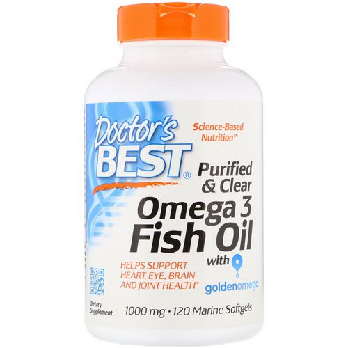 Doctor's Best, Purified & Clear Omega 3 Fish Oil with Goldenomega, 1000 mg, 120 Marine Softgels Review