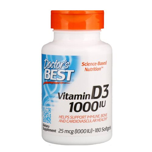 Doctor's Best, Vitamin D3, 25 mcg (1,000 IU), 180 Softgels Review