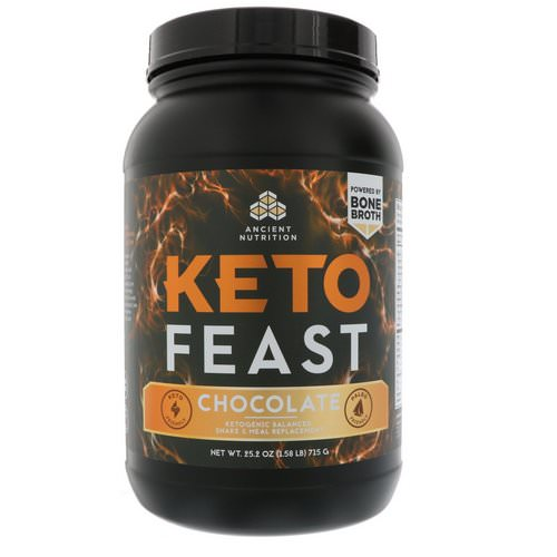 Dr. Axe / Ancient Nutrition, Keto Feast, Ketogenic Balanced Shake & Meal Replacement, Chocolate, 1.57 lbs (715 g) Review