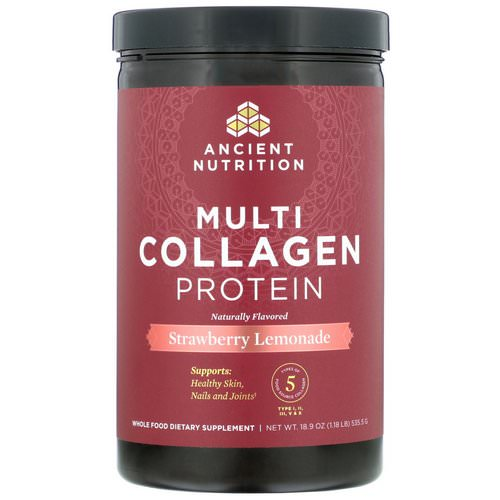 Dr. Axe / Ancient Nutrition, Multi Collagen Protein, Strawberry Lemonade, 1.18 lbs (535.5 g) Review