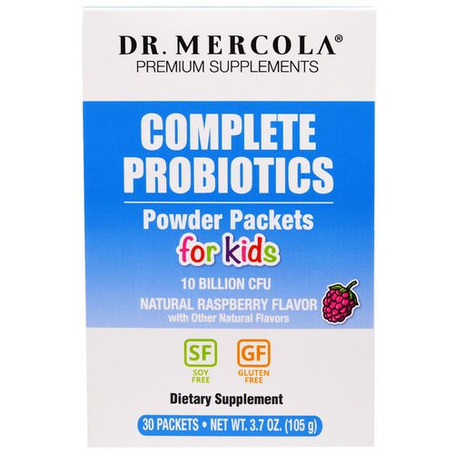 Dr. Mercola, Complete Probiotics Powder Packets for Kids, Natural Raspberry Flavor, 30 Packets, 0.12 oz (3.5 g) Each Review