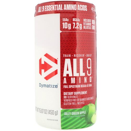 Dymatize Nutrition, All 9 Amino, Jolly Green Apple, 15.87 oz (450 g) Review