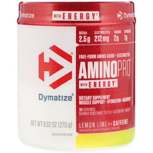 Dymatize Nutrition, AminoPro with Energy, Lemon Lime with Caffeine, 9.52 oz (270 g) Review