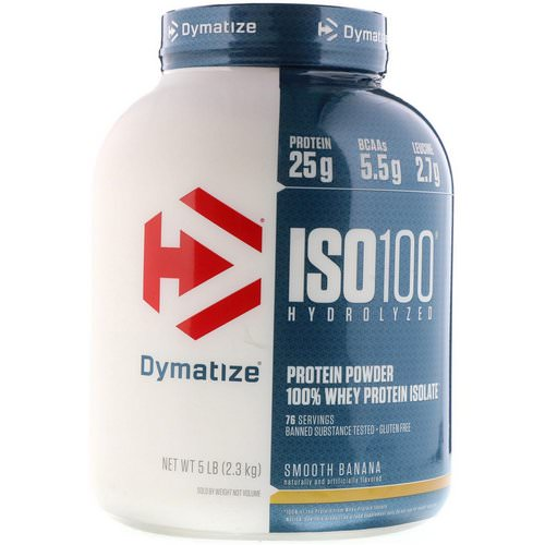 Dymatize Nutrition, ISO 100 Hydrolyzed, 100% Whey Protein Isolate, Smooth Banana, 5 lbs (2.3 kg) Review