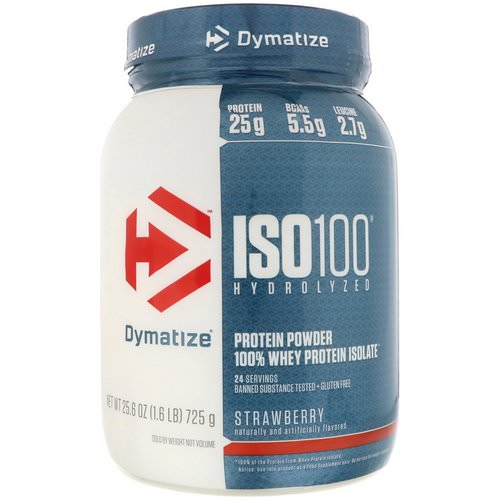 Dymatize Nutrition, ISO 100 Hydrolyzed, 100% Whey Protein Isolate, Strawberry, 1.6 lbs (725 g) Review