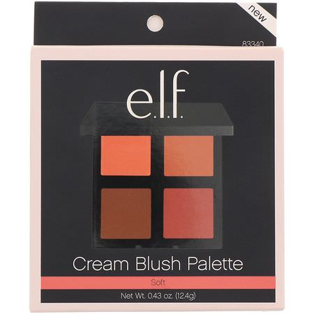 彩妝盤, 腮紅: E.L.F, Cream Blush Palette, Soft, 0.43 oz (12.4 g)