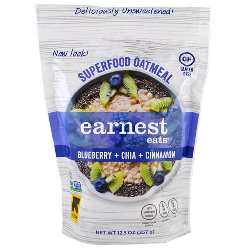 Earnest Eats, Superfood Oatmeal, Blueberry + Chia + Cinnamon, 12.6 oz (357 g) Review