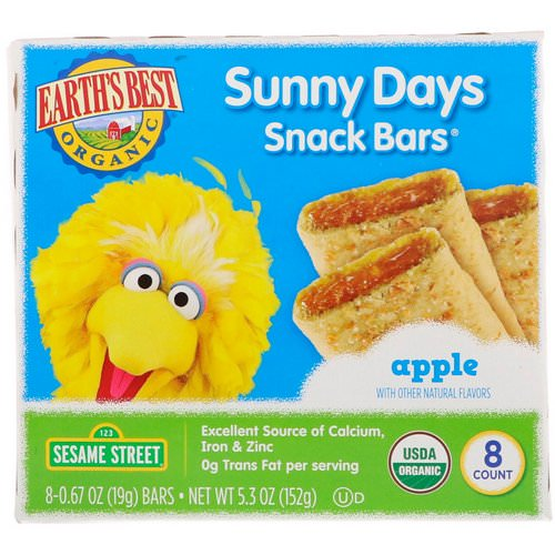 Earth's Best, Sunny Days Snack Bars, Apple, 8 Bars, 0.67 oz (19 g) Each Review