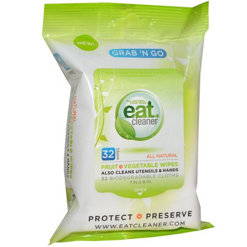 Eat Cleaner, Grab 'N Go Fruit + Vegetable Wipes, 32 Wipes, 7 in X 8 in Each Review