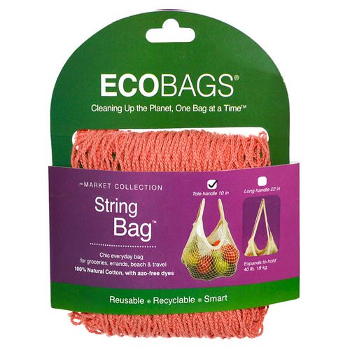 ECOBAGS, Market Collection, String Bag, Tote Handle 10 in, Coral Rose, 1 Bag Review