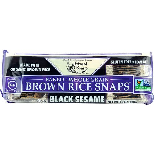 Edward & Sons, Baked Whole Grain Brown Rice Snaps, Black Sesame, 3.5 oz (100 g) Review