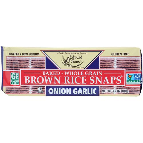 Edward & Sons, Baked Whole Grain Brown Rice Snaps, Onion Garlic, 3.5 oz (100 g) Review