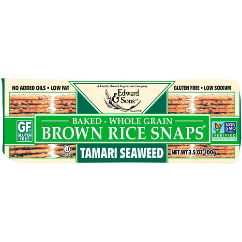 Edward & Sons, Baked Whole Grain Brown Rice Snaps, Tamari Seaweed, 3.5 oz (100 g) Review