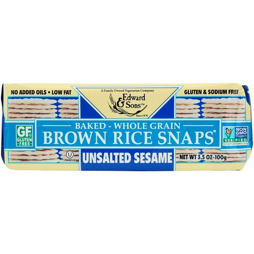 Edward & Sons, Baked Whole Grain Brown Rice Snaps, Unsalted Sesame, 3.5 oz (100 g) Review