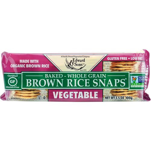 Edward & Sons, Baked Whole Grain Brown Rice Snaps, Vegetable, 3.5 oz (100 g) Review