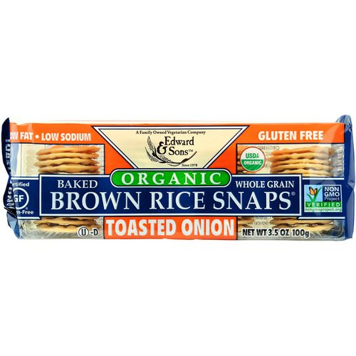 Edward & Sons, Organic, Baked Whole Grain Brown Rice Snaps, Toasted Onion, 3.5 oz (100 g) Review