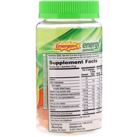 能量補充劑: Emergen-C, Energy Plus Gummies, Orange Zest, 30 Gummies