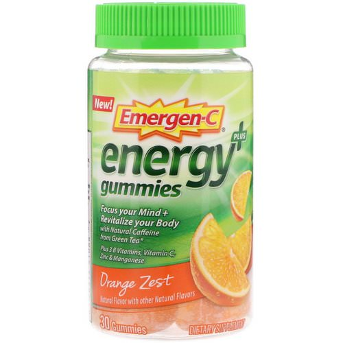 Emergen-C, Energy Plus Gummies, Orange Zest, 30 Gummies Review
