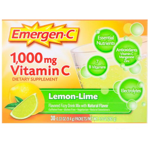 Emergen-C, Vitamin C, Flavored Fizzy Drink Mix, Lemon-Lime, 1,000 mg, 30 Packets, 0.33 oz (9.4 g) Each Review