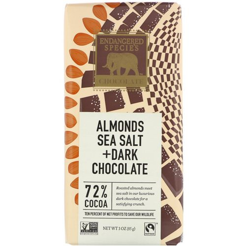 Endangered Species Chocolate, Almonds Sea Salt + Dark Chocolate, 3 oz (85 g) Review