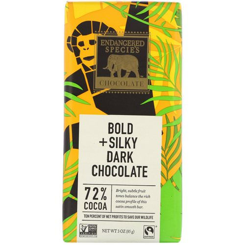 Endangered Species Chocolate, Bold + Silky Dark Chocolate, 3 oz (85 g) Review