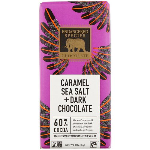Endangered Species Chocolate, Caramel Sea Salt + Dark Chocolate, 3 oz (85 g) Review