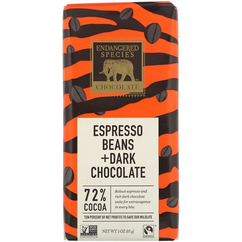 Endangered Species Chocolate, Espresso Beans + Dark Chocolate, 3 oz (85 g) Review