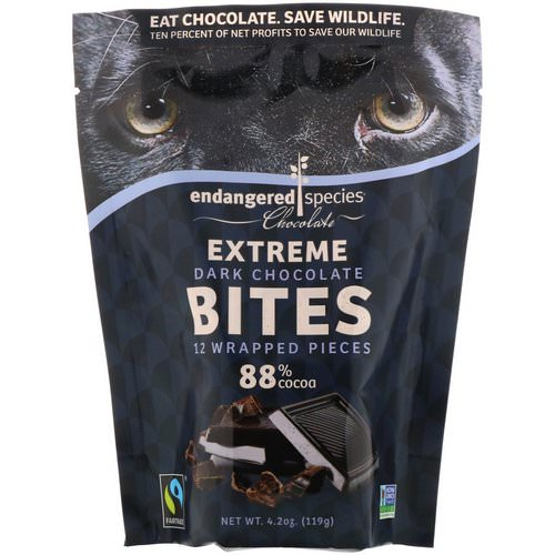 Endangered Species Chocolate, Extreme Dark Chocolate Bites, 12 Wrapped Pieces, 4.2 oz (119 g) Review