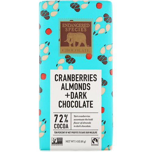 Endangered Species Chocolate, Cranberries, Almonds + Dark Chocolate, 3 oz (85 g) Review