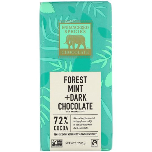 Endangered Species Chocolate, Forest Mint + Dark Chocolate, 3 oz (85 g) Review