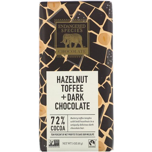 Endangered Species Chocolate, Hazelnut Toffee + Dark Chocolate, 3 oz (85 g) Review