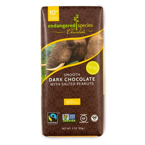 Endangered Species Chocolate, Smooth Dark Chocolate with Salted Peanuts, 3 oz (85 g) Review