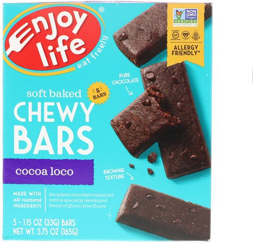 Enjoy Life Foods, Soft Baked Chewy Bars, Cocoa Loco, 5 Bars, 1.15 oz (33 g) Each Review