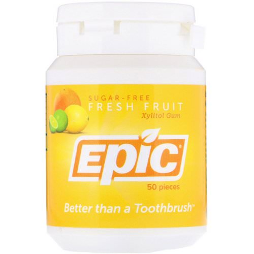 Epic Dental, Xylitol Gum, Sugar-Free, Fresh Fruit, 50 Pieces Review