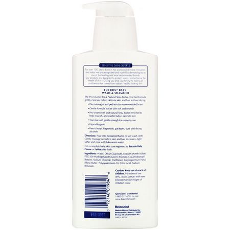沐浴露, 嬰兒沐浴露: Eucerin, Baby, Wash & Shampoo, Fragrance Free, 13.5 fl oz (400 ml)