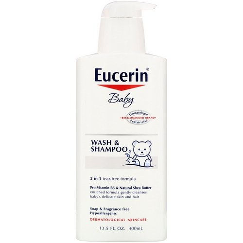 Eucerin, Baby, Wash & Shampoo, Fragrance Free, 13.5 fl oz (400 ml) Review