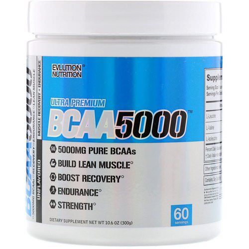 EVLution Nutrition, BCAA 5000, Unflavored, 10.6 oz (300 g) Review