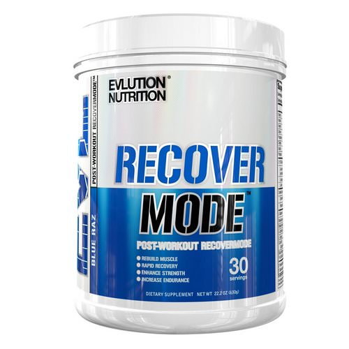 EVLution Nutrition, Recover Mode, Post-Workout RecoverMode, Blue Raz, 22.2 oz (6.30 g) Review