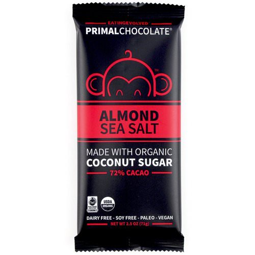 Evolved Chocolate, PrimalChocolate, Almond & Sea Salt 72% Cacao, 2.5 oz (71 g) Review
