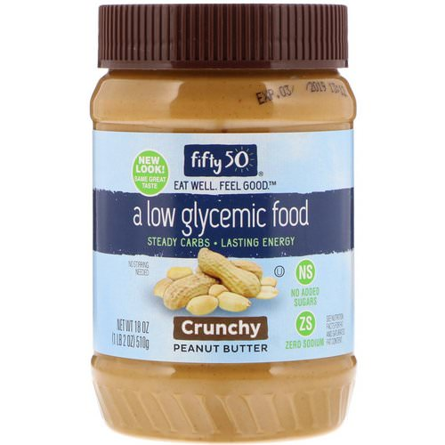 Fifty 50, Low Glycemic Peanut Butter, Crunchy, 18 oz (510 g) Review