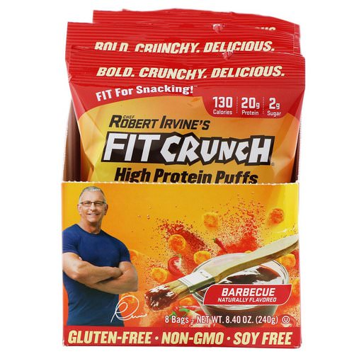 FITCRUNCH, High Protein Puffs, Barbecue, 8 Bags, 1.05 oz (30 g) Each Review