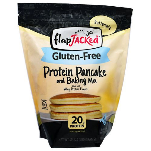 FlapJacked, Protein Pancake and Baking Mix, Gluten-Free Buttermilk, 24 oz (680 g) Review