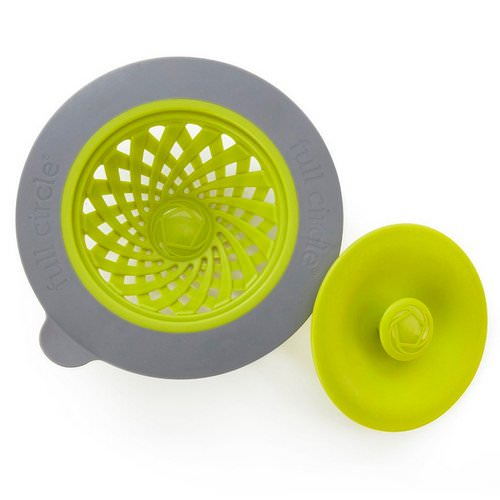 Full Circle, Sinksational, Sink Strainer with Pop-Out Stopper, Green & Slate, 1 Strainer & 1 Stopper Review