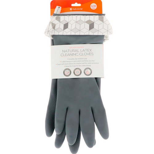 Full Circle, Splash Patrol, Natural Latex Cleaning Gloves, Size S/M, Grey, 1 Pair Review