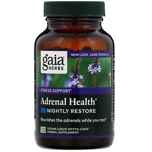 Gaia Herbs, Adrenal Health, Nightly Restore, 120 Vegan Liquid Phyto-Caps Review