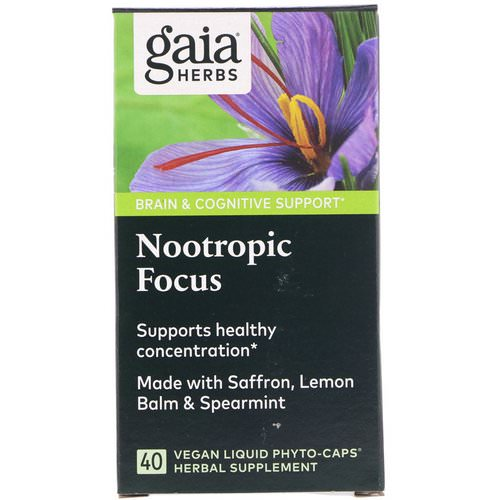 Gaia Herbs, Nootropic Focus, 40 Vegan Liquid Phyto-Caps Review