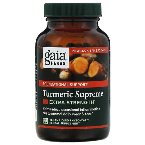 Gaia Herbs, Turmeric Supreme, Extra Strength, 120 Vegan Liquid Phyto-Caps Review