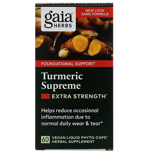 Gaia Herbs, Turmeric Supreme, Extra Strength, 60 Vegan Liquid Phyto-Caps Review