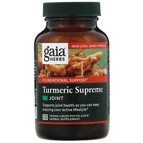Gaia Herbs, Turmeric Supreme, Joint, 120 Vegan Liquid Phyto-Caps Review