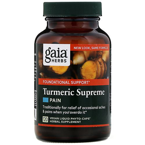 Gaia Herbs, Turmeric Supreme, Pain, 120 Vegan Liquid Phyto-Caps Review